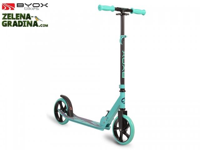 """BYOX 107570 - Луксозна алуминиева тротинетка """"STORM"""" с 200 mm PU колела с лагери ABEC-5, Сгъваема, Натоварване: до 100 кг, Задна спирачка и странична стойка, Цвят: Тюркоаз"""