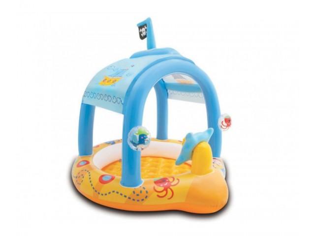 INTEX 757426 - Надуваем детски басейн корабче с размери 107х102х99 cm