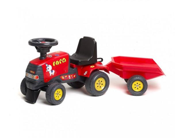 FALK – Бебешки трактор с ремарке, червен (модел: 302005)