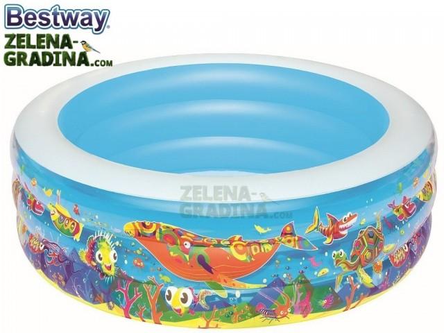 """BESTWAY 51121 - Надуваем детски кръгъл басейн """"РИБИ"""" с размери Ф1.52x0.51 m"""