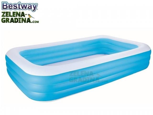 BESTWAY 54009 - Надуваем детски правоъгълен басейн с размери 3.0x1.83x0.56 m