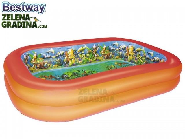 """BESTWAY 54114 - Надуваем детски правоъгълен басейн """"3D картинки"""" + очила с размери 2.62x1.75x0.51 m"""