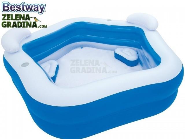 BESTWAY 54153 - Надуваем детски петоъгълен басейн с размери 2.13x2.07x0.69 m