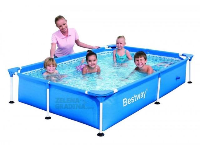 BESTWAY 56401 - Правоъгълен басейн с тръбна конструкция, Размери: 2.21 x 1.50 x дълбочина 0.43 m
