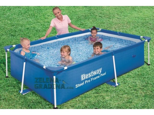 BESTWAY 56402 - Правоъгълен басейн с тръбна конструкция, Размери: 2.39 x 1.50 x дълбочина 0.58 m