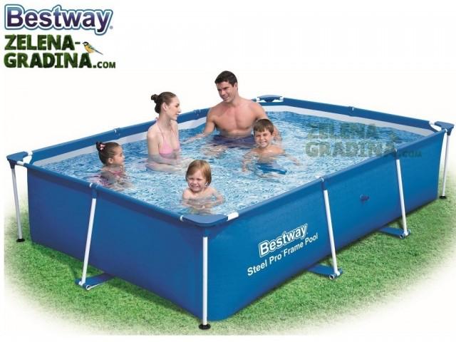 BESTWAY 56403 - Правоъгълен басейн с тръбна конструкция, Размери: 2.59 x 1.70 x дълбочина 0.61 m