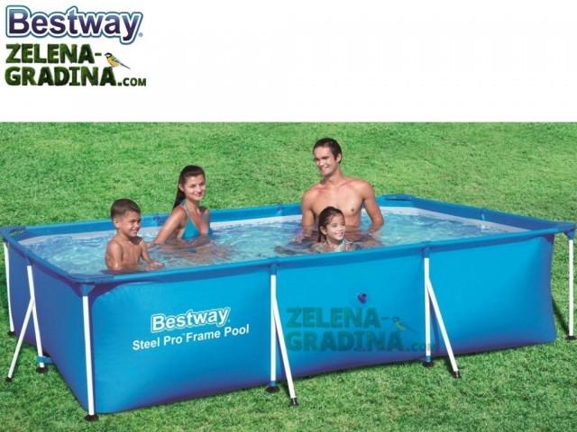 BESTWAY 56404 - Правоъгълен басейн с тръбна конструкция, Размери: 3.00 x 2.01 x дълбочина 0.66 m