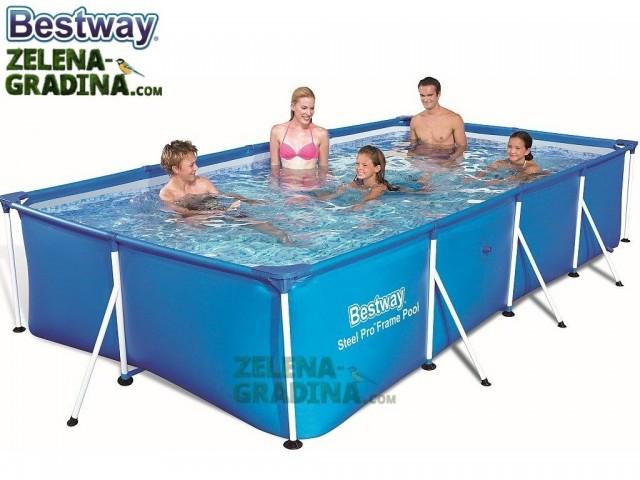BESTWAY 56405 - Правоъгълен басейн с тръбна конструкция, Размери: 4.00 x 2.11 x дълбочина 0.81 m