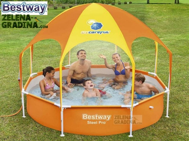 BESTWAY 56432 - Детски басейн с тръбна конструкция и сенник, Размери: диаметър Ф 2.44 m x дълбочина 0.51 m, Тегло: 13,30 кг