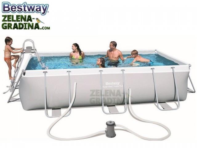 BESTWAY 56441 - Правоъгълен басейн с тръбна конструкция, Размери: 4.04 x 2.01 x дълбочина 1.00 m + стълба и филтърна система