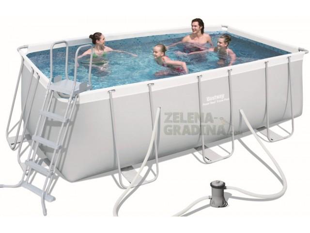 BESTWAY 56456 - Правоъгълен басейн с тръбна конструкция, Размери: 4.12 x 2.01 x дълбочина 1.22 m + стълба и филтърна система