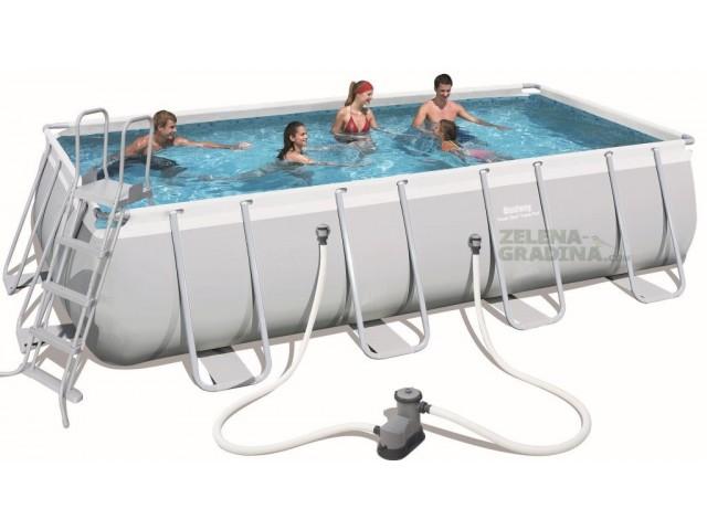 BESTWAY 56465 - Правоъгълен басейн с тръбна конструкция, Размери: 5.49 x 2.74 x дълбочина 1.22 m + стълба и филтърна система