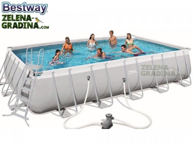 BESTWAY 56470 - Правоъгълен басейн с тръбна конструкция, Размери: 6.71 x 3.66 x дълбочина 1.32 m + стълба и филтърна система