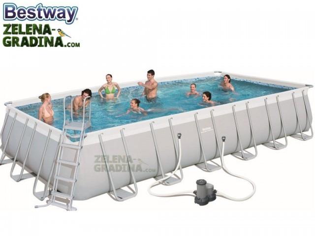 BESTWAY 56474 - Правоъгълен басейн с тръбна конструкция, Размери: 7.32 x 3.66 x дълбочина 1.32 m + стълба и филтърна система