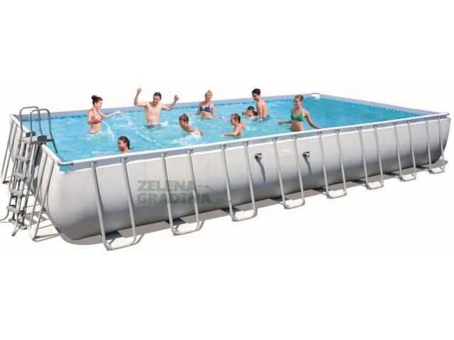 BESTWAY 56479 - Правоъгълен басейн с тръбна конструкция, Размери: 9.56 x 4.88 x дълбочина 1.32 m + стълба и филтърна система