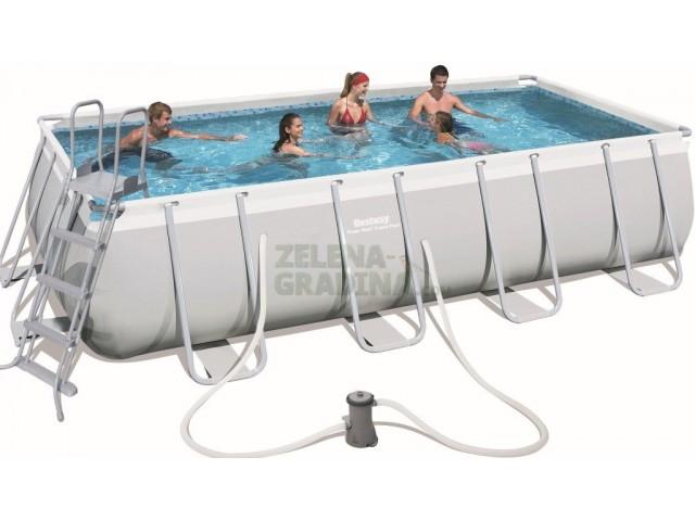 BESTWAY 56481 - Правоъгълен басейн с тръбна конструкция, Размери: 4.88 x 2.74 x дълбочина 1.22 m + стълба и филтърна система