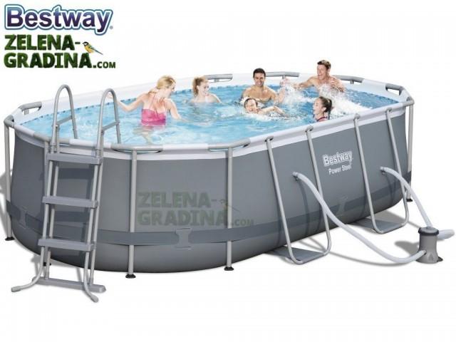 BESTWAY 56620 - Овален басейн с тръбна конструкция, Размери: 4.24 x 2.50 x дълбочина 1.00 m + стълба и филтърна система