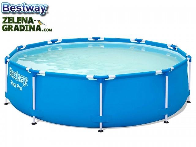"""Bestway 56677 - Кръгъл басейн с тръбна конструкция """"Steel Pro"""", Размери: диаметър 305 cm x дълбочина 76 cm, Тегло: 17 кг"""