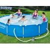"""BESTWAY 56681 - Кръгъл басейн с тръбна конструкция """"Steel Pro"""" + филтърна помпа, Размери: диаметър 366 cm x дълбочина 76 cm, Тегло: 19,6 кг"""