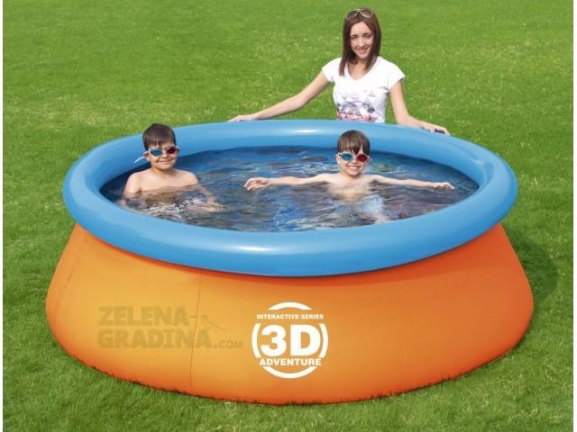 BESTWAY 57244 - Детски басейн с надуваем ринг и 3D картинки отвътре + очила