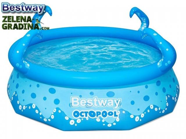 BESTWAY 57397 - Детски басейн с надуваем ринг ОКТОПОД, Размери: диаметър Ф 2.74 x дълбочина 0.76 m