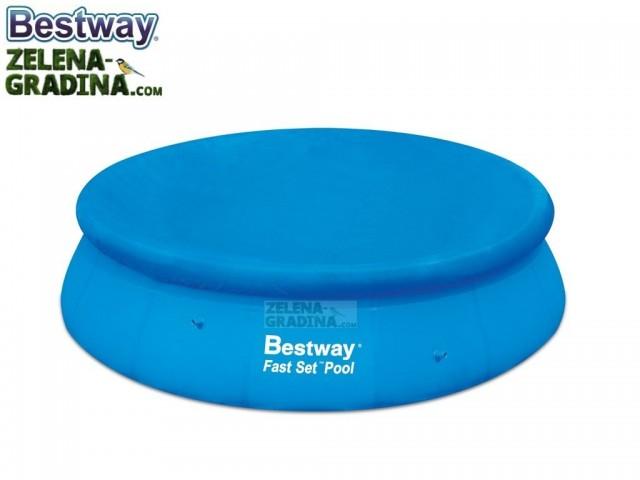 BESTWAY 58035 - Покривало за басейн с НАДУВАЕМ РИНГ с диаметър Ф 4.57 m, Цвят: Син