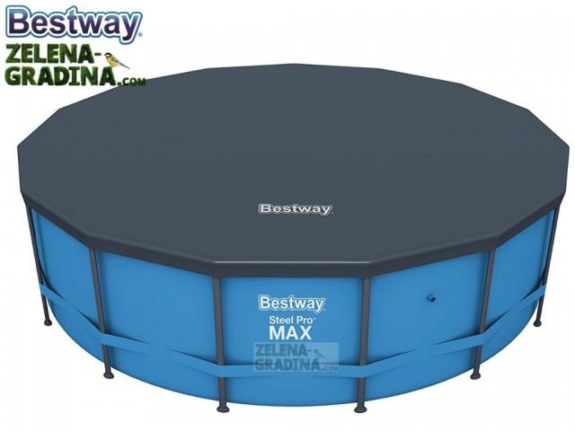 BESTWAY 58038 - Покривало за басейн с тръбна конструкция с диаметър Ф 4.57 m, Цвят: Тъмно сив