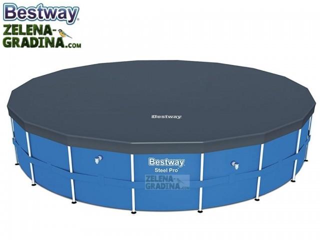 BESTWAY 58039 - Покривало за басейн с тръбна конструкция с диаметър Ф 5.49 m, Цвят: Тъмно сив