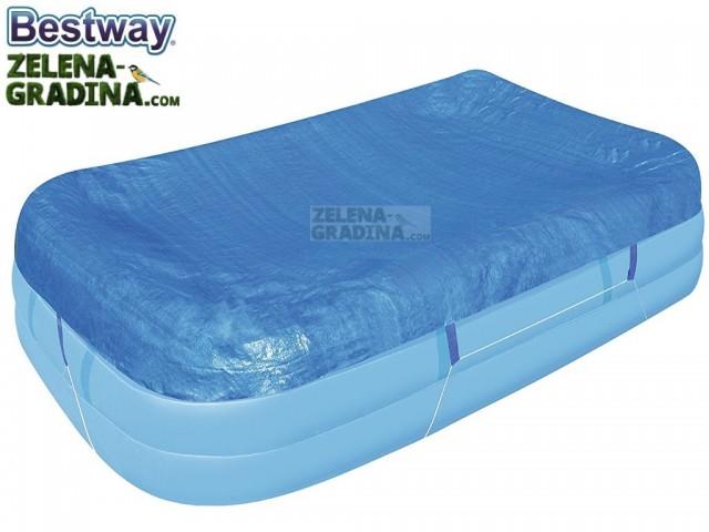 BESTWAY 58108 - Покривало за правоъгълен басейн с НАДУВАЕМ РИНГ с размери 3.05 x 1.83 m, Цвят: Син