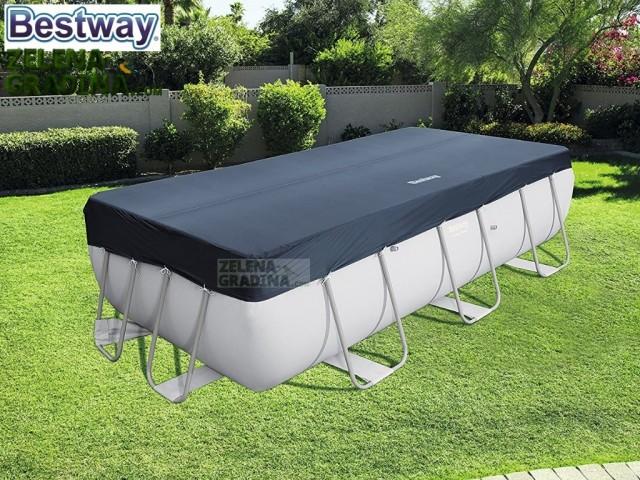 BESTWAY 58232 - Покривало за правоъгълен басейн с тръбна конструкция с размери 4.04 x 2.01 m, Цвят: Тъмно сив
