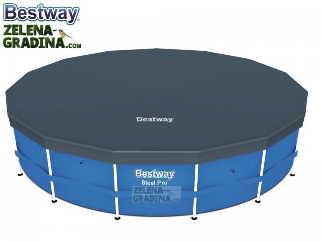 BESTWAY 58248 - Покривало за кръгъл басейн с тръбна конструкция с диаметър Ф 4.27 m, Цвят: Тъмно сив