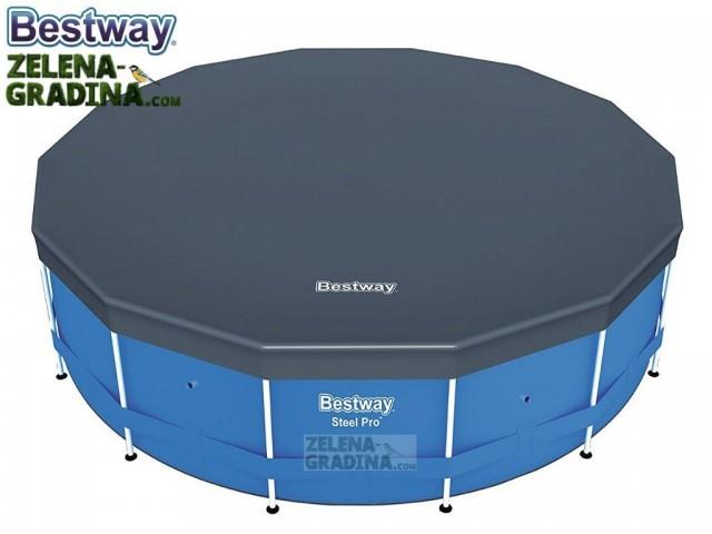 BESTWAY 58249 - Покривало за кръгъл басейн с тръбна конструкция с диаметър Ф 4.88 m, Цвят: Тъмно сив