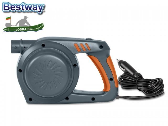 """BESTWAY 62164 - Електрическа помпа """"PowerGrip"""", Работи на 12V, 680 л/мин, Двупосочна - за надуване и изпускане, 3 накрайника"""