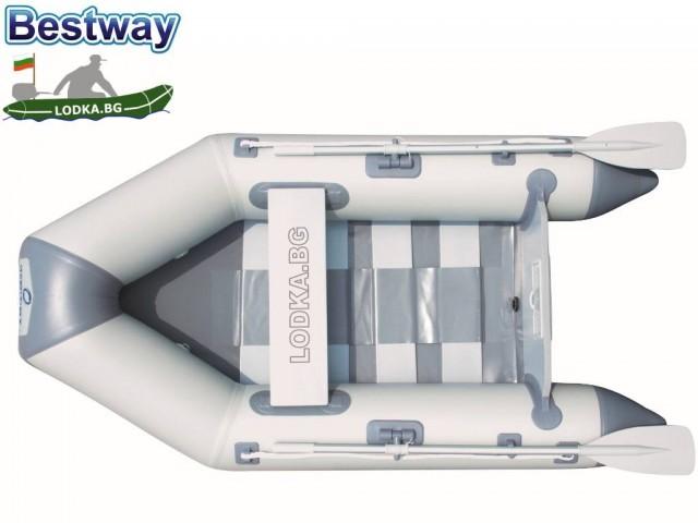 """BESTWAY 65046 – Надуваема ТРИМЕСТНА лодка с твърдо дъно """"Hydro-Force"""", Размери: 230х137 cm, Товароносимост: 258 кг"""