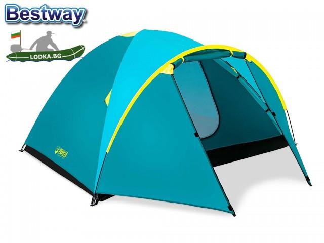 """BESTWAY 68091 - Четири-местна палатка """"Activeridge 4"""", Размери: (210 cm + 100 cm) x 240 cm x 130 cm, Тегло: 3.80 кг"""