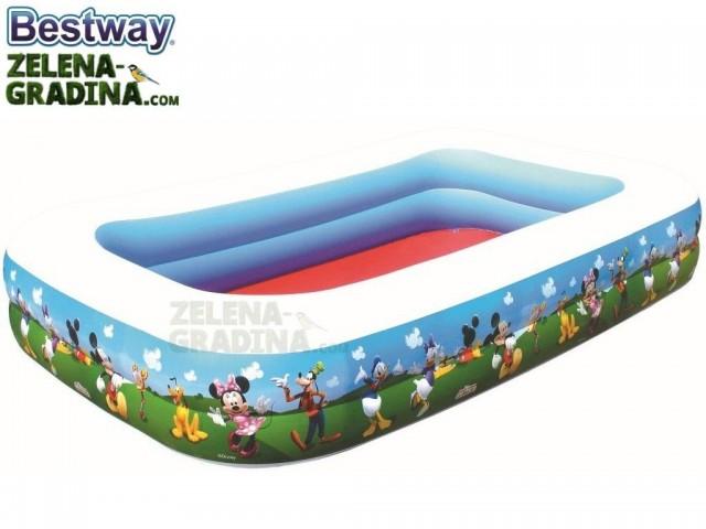 """BESTWAY 91008 - Надуваем детски правоъгълен басейн """"Mickey Mouse"""" с размери 2.62x1.75x0.51 m"""