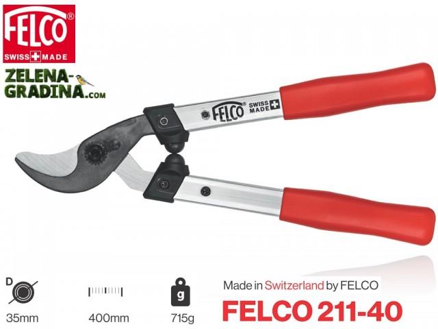 FELCO 211-40 - Професионална ножица за клони с АЛУМИНИЕВИ дръжки със специален профил, Разминаващи се ИЗВИТИ остриета, Рязане на клони: до Ф35 mm, Дължина: 40 cm, Тегло: 715 гр.