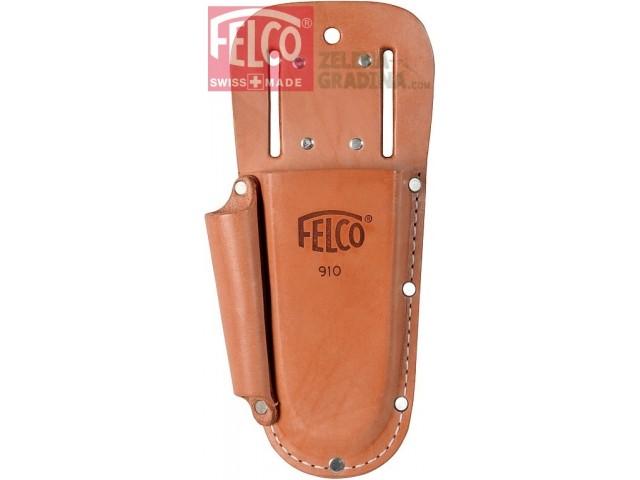FELCO 910 PLUS - Калъф от естествена кожа с гайки за поставяне на колан и метална щипка за окачване и допълнително отделение за заточващ инструмент