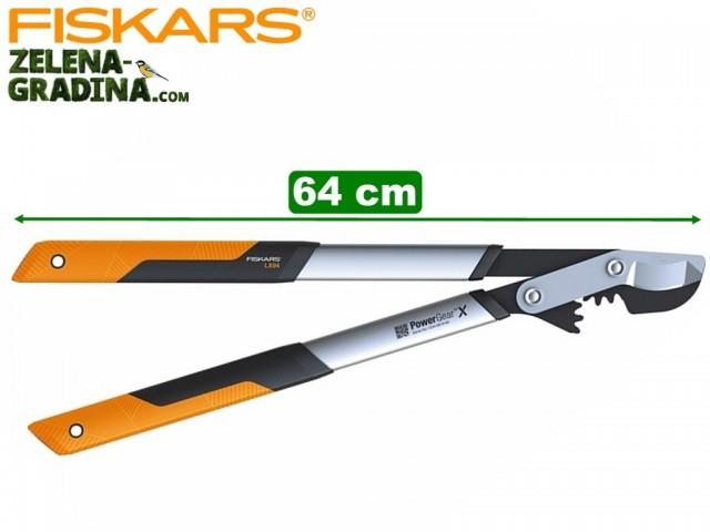 """FISKARS 1020187 - Овощарска ножица за клони """"Power GearX"""", Стоманен зъбчат УСИЛВАЩ механизъм, Разминаващи се остриета, Модел: M (LX94), Дължина: 64 cm, Рязане на клони: до Ф 55 mm"""