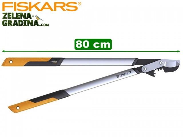 """FISKARS 1020188 - Овощарска ножица за клони """"Power GearX"""", Стоманен зъбчат УСИЛВАЩ механизъм, Разминаващи се остриета, Модел: L (LX98), Дължина: 80 cm, Рязане на клони: до Ф 55 mm"""
