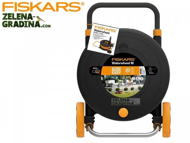 """FISKARS 1023643 - Комплект количка + макара (размер M) + градински маркуч 1/2"""" + конектори и разпръсквач, Дължина: 20 m"""