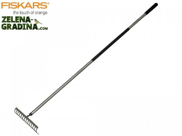 """FISKARS 135510/1000652 - Метално гребло """"LIGHT"""", с АЛУМИНИЕВА дръжка, 14 зъба, Дължина: 1.54 m, Ширина: 35,8 cm, Тегло: 800 гр"""