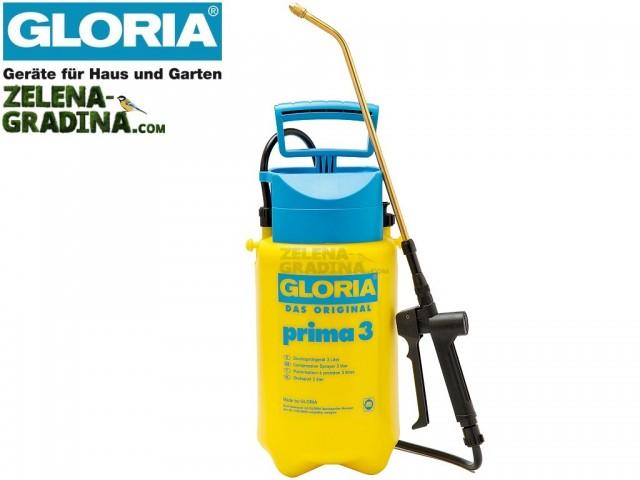 """GLORIA 000078 - Ръчна пръскачка """"Prima 3"""", Обем 3.0 L, Тегло 1.25 кг"""