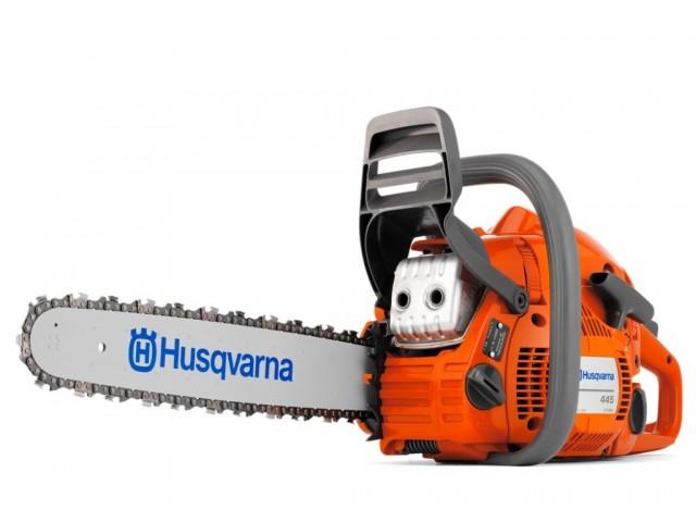 """HUSQVARNA 967156635 - Моторен трион HUSQVARNA 445E II-15"""", Мощност: 2.1 kW / 2.8 HP, Обем на двигателя: 45.7 cm³, Дължина на шината: 38 cm, Тегло: 5.1 kg"""