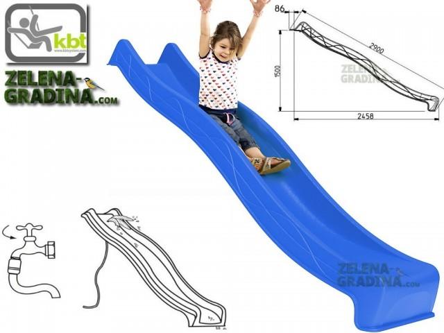"""KBT 402.015.004.001 - Детска пързалка/улей """"TSURI"""", За монтаж на платформа от височина 1.50 m, Обща дължина: 2.90m, Максимално натоварване: до 70 кг, Цвят: Син"""