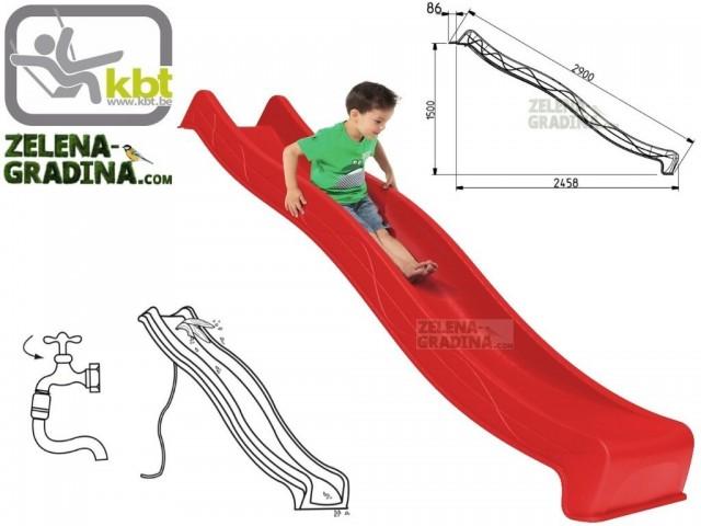 """KBT 402.015.001.001 - Детска пързалка/улей """"TSURI"""", За монтаж на платформа от височина 1.50 m, Обща дължина: 2.90m, Максимално натоварване: до 70 кг, Цвят: Червен"""