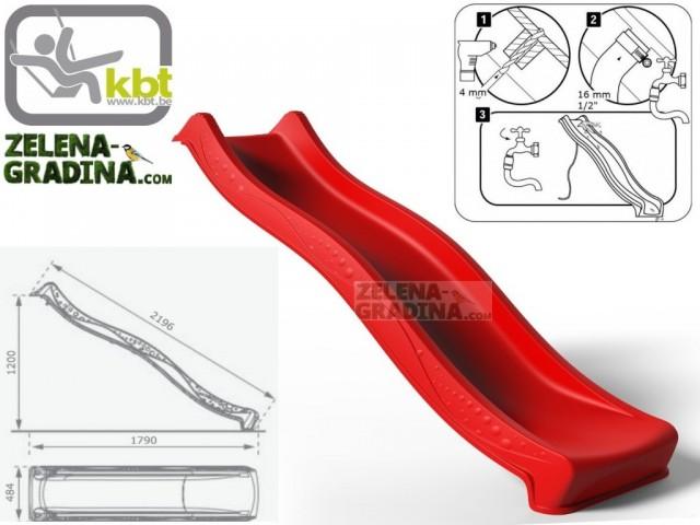 """KBT 400.012.001.001 - Детска пързалка/улей """"YULVO"""", За монтаж на платформа от височина 1.20 m, Обща дължина: 2.19m, Максимално натоварване: до 50 кг, Цвят: Червен"""