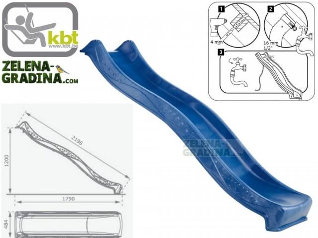 """KBT 400.012.004.001 - Детска пързалка/улей """"YULVO"""", За монтаж на платформа от височина 1.20 m, Обща дължина: 2.19m, Максимално натоварване: до 50 кг, Цвят: Син"""