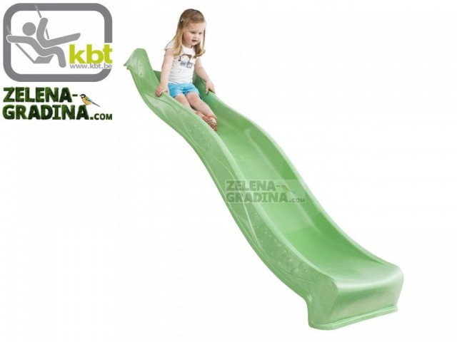 """KBT 400.012.009.001 - Детска пързалка/улей """"YULVO"""", За монтаж на платформа от височина 1.20 m, Обща дължина: 2.19m, Максимално натоварване: до 50 кг, Цвят: Зелена ябълка"""