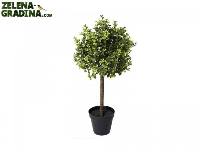 E543Z-17750-2X01 - Мини изкуствено дърво с една топка,едноцветно в саксия, Размер на растението: 58.50 cm, Размер на саксията: 13 cm
